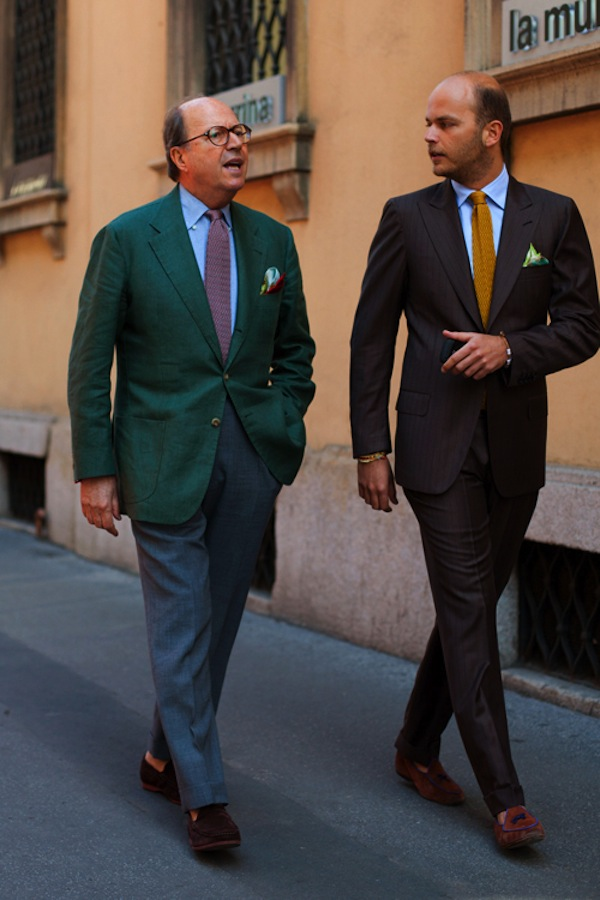 A couple of gents, strolling, chatting, looking elegantly FLY.