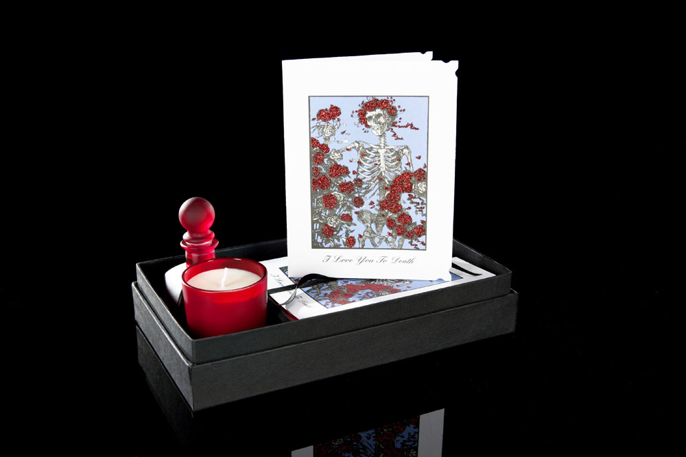 Love you to Death card, candle set