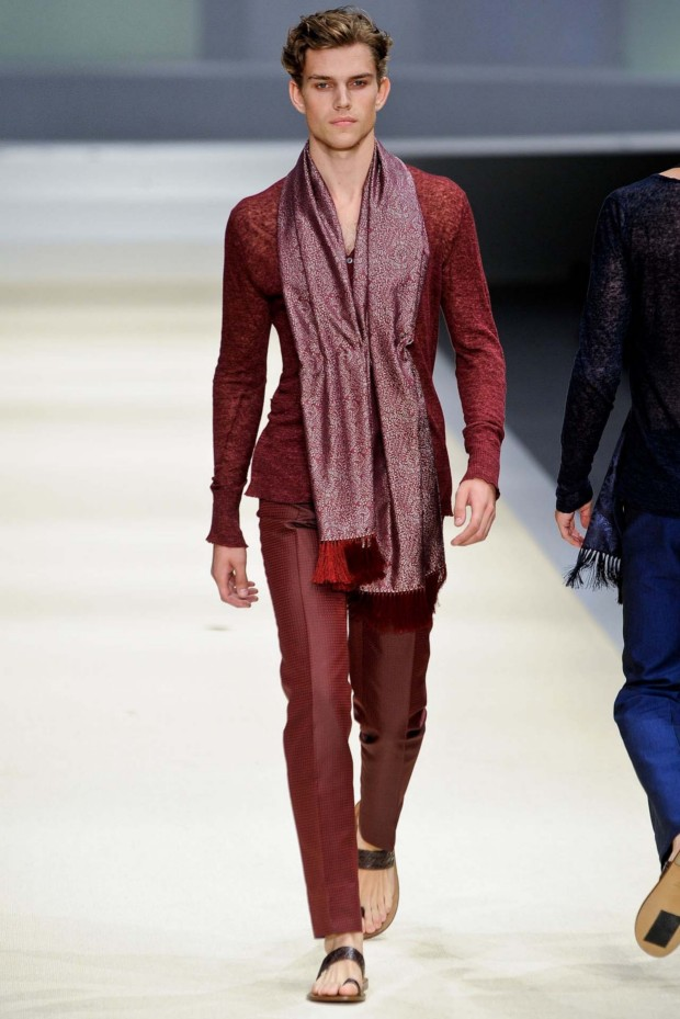 Pulling the shades back is Canali with a Ruby Red Suit