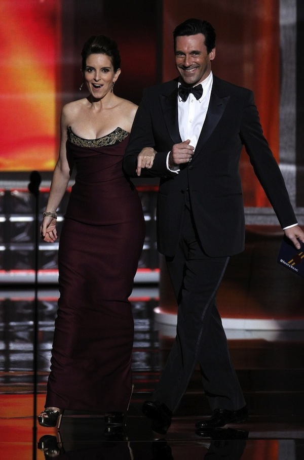 Fey and Hamm take the stage to present the award for outstanding lead actress in a drama series at the 64th Primetime Emmy Awards in Los Angeles