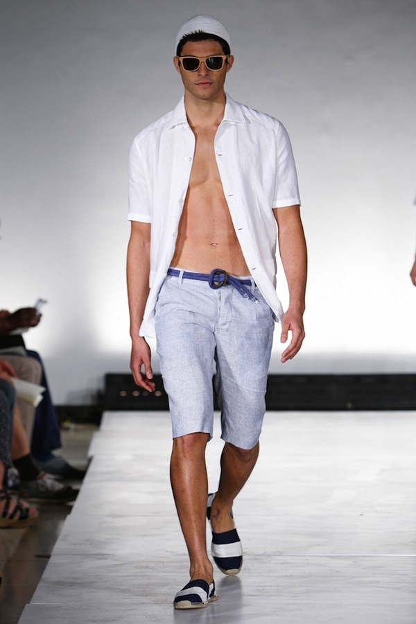 John Bartlett gives a summer vide with lilac shorts and striped boat shoes.