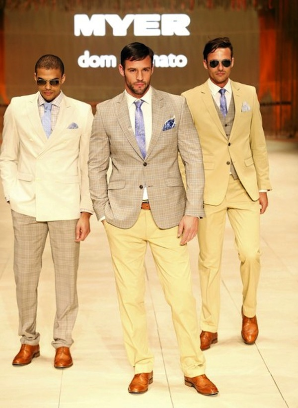 To compliment the blues for Spring, don't underestimate the lemon suit, or a separate.