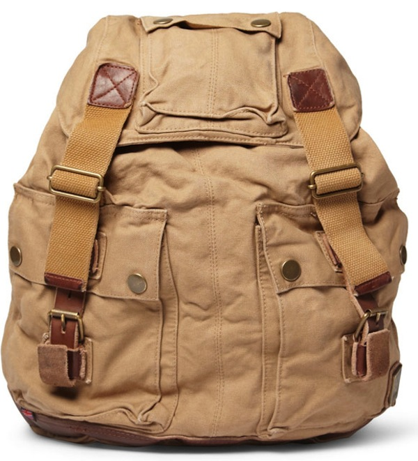 Belstaff Leather Trimmed Canvas Backpack