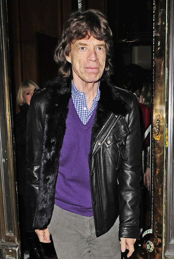 Age is no issue in wearing leather - here's Jagger with fur and leather.