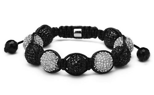 Shamballa-Bracelet-Unisex-Black-White-Silver-CZ-Crystal-Beads-12mm