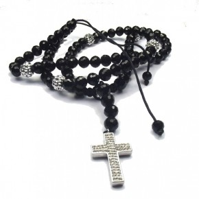 Shamballa-Rosary-Necklace-Silver-Disco-Balls-and-Black-Beads-front-1020x1024