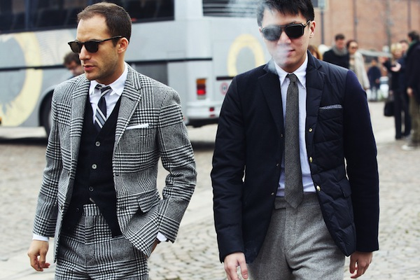 Houndstooth patters and high waist trousers at Pitti Uomo