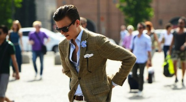 Khaki and powder blue a staple in a Gent's wardrobe