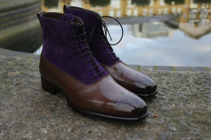 purple and brown shoe