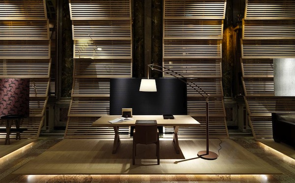 The arching panel were inspired by the hull of a boat and venetian blinds Picture: François Lacour