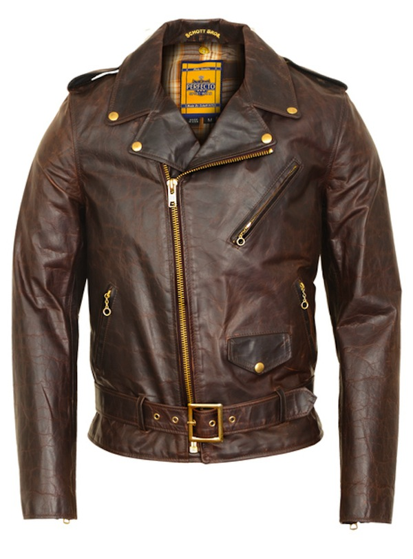 schott-perfecto brown motorcycle jacket