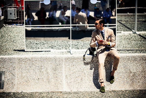 Latte, cream and camel tones complemented the severe shades of blue at Pitti.