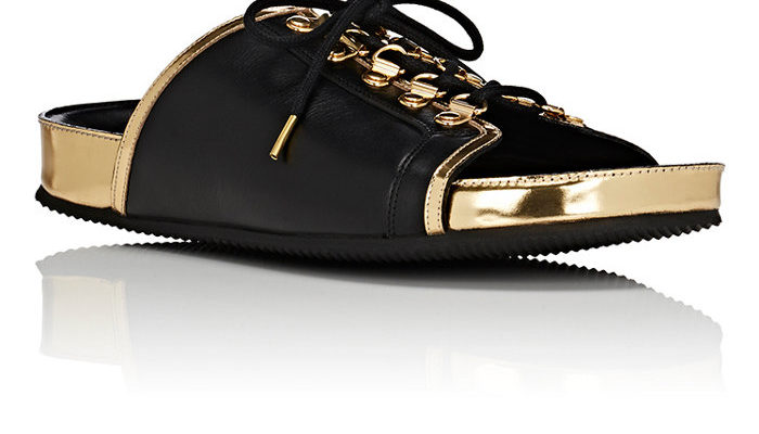 Balmain, I mean this is awesome! Leather lace up slide