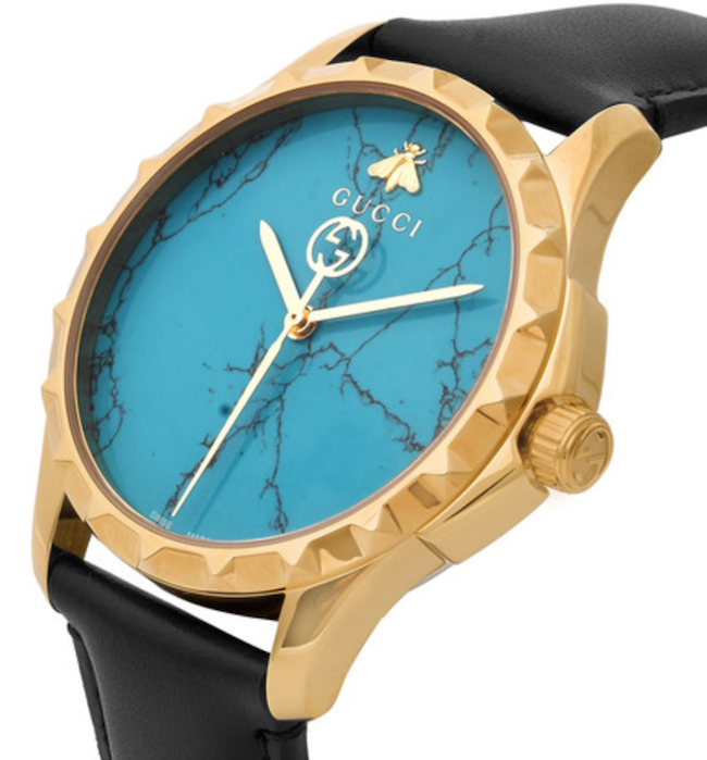 Gucci Gold PVD-Coated And Leather Watch
